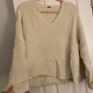 Free people Ivory oversized sweater used once